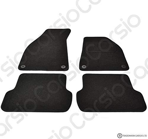 Carsio CARP-CUT-1008-(55 x 4) Alfombrillas de Coche para Audi A4 B6 2000-2005 – 4 Piezas con 4 Clips
