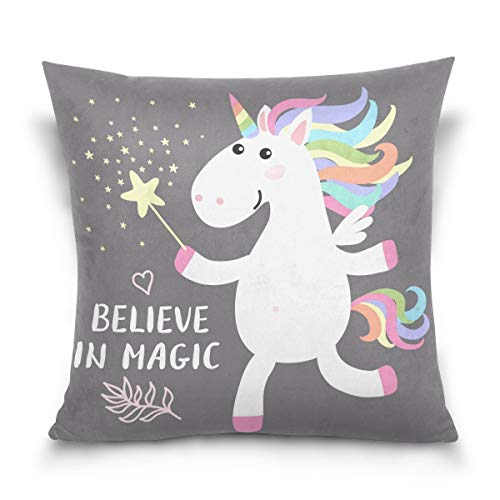 lucies Throw Pillow Case Decorative Cushion Cover Square Pillowcase, Believe in Magic Unicorn Star Quote Vintage Sofa Bed Pillow Case Cover(18x18inch) Twin Sides