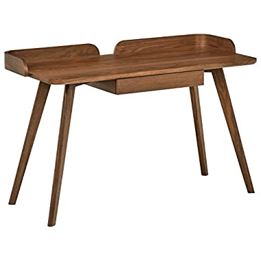 Rivet Mid-Century Curved Wood Home Office Computer Desk, 48.4  L, Walnut