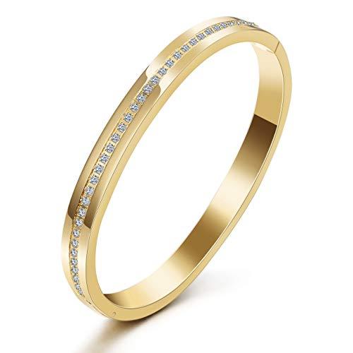 WISTIC Damen Armband Armreif Armkette aus Kristallen und Edelstahl Gold Rosegold Silber Ideal Geburtstag Geschenk für Frauen Mädchen (Gold)