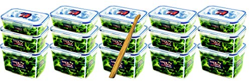 Lock&Lock Frischhalteboxen-Set gleiche Deckel 15-teilig (5x 1,2L-Box, 5x 1,8L-Box, 5x 2,4L-Box) stapelbar, leer schachtelbar und SeleXions Multifunktion Olivenholz-Spachtel