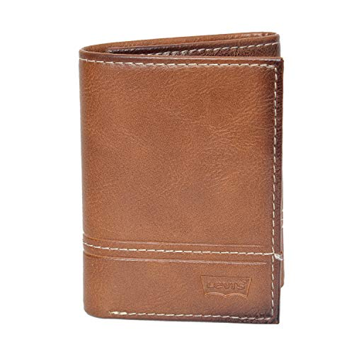 Levi's Men's Genuine Leather Trifold Wallet (Tan)
