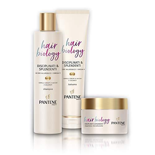 Pantene Hair Biology Disciplinati e Splendenti, Set Composto da Shampoo da 250 ml, Balsamo da 160 ml e Maschera da 160 ml