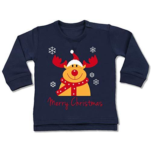 Shirtracer Weihnachten Baby - Merry Christmas Rentier - 6/12 Monate - Navy Blau - Weihnachtspullover Rentier Kinder - BZ31 - Baby Pullover