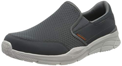 Skechers EQUALIZER 4.0, Herren Sneaker, Grau / Anthrazit / Mesh / PU / Orange, 46 EU (11 UK)