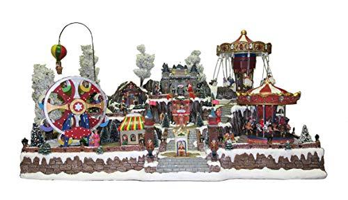 25 twentyfive Villaggio Natalizio Gigante con Luna Park, Movimento, luci, Musica (85 x 50 x 60 cm)