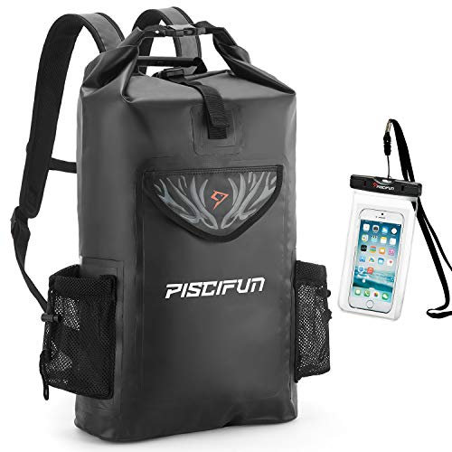 Piscifun Wrapper Dry Backpack with Waterproof Phone Case  Waterproof Floating Black Dry Bag 20L for Fishing Kayaking Boating Swimming Camping Hiking