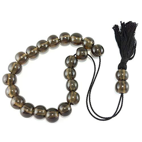 Handgefertigte Komboloi-Perlen, Obsidian, Schwarz-Silber, 14 mm