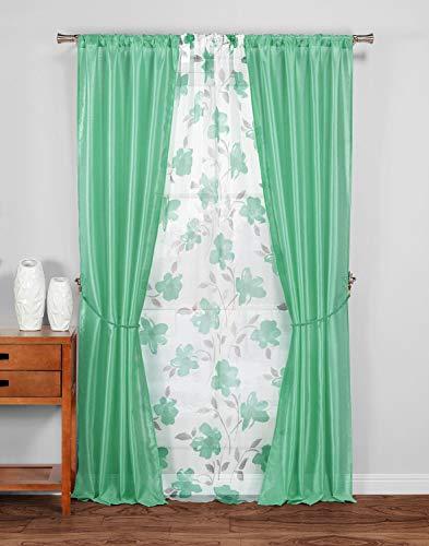 Duck River Textile Rory Floral Window Curtain, 38x84, Aqua