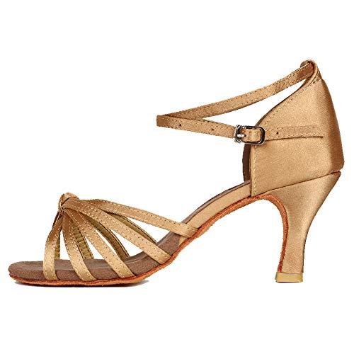 YKXLM Mujeres&Niña Zapatos latinos de baile Zapatillas de baile de salón Salsa Performance Calzado de Danza,ES217-7,Beige color,EU 35