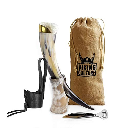 Viking Culture 16 oz. Viking Drinking Horn with Beer Opener, Stand, Genuine Leather Belt Holster and Vintage Burlap Bag, Polished Finished with Authentic Medieval Norse Style