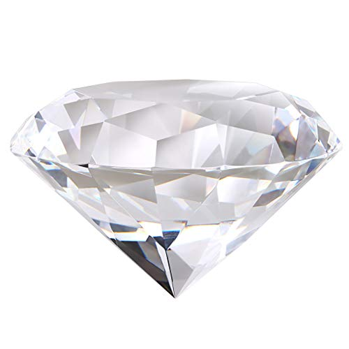 OwnMy Diamond Shaped Crystal Paperweight, Clear Crystal Diamond Jewel Paperweight Sparkling Glass Gem Centerpieces Decoration with Gift Box for Home Office Wedding Decor (100MM / 4