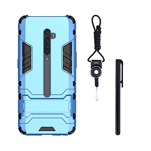 SsHhUu Oppo Reno2 Hülle, Stoßsichere Dual Layer Hybrid Tasche Schutzhülle mit Schlüsselband + Stylus für Oppo Reno2 2019 (6.5 Zoll) Blue