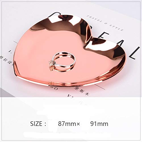 KYT-My Nordic Home Decoration Zubehör Serviertablett Metal Heart-Shaped Ring Halskette Schmuck-Speicher-Organisator (Farbe : Rose Gold)