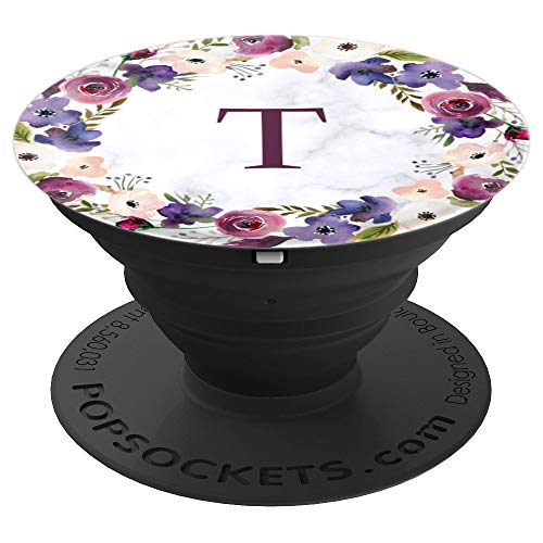 Floral Monogram Initial Letter T White Marble Background PopSockets Grip and Stand for Phones and Tablets