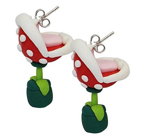 KOLIGHT 1 par de pendientes de moda hechos a mano de arcilla polimérica Mario Piranha estilo flor tachuelas regalo vacaciones