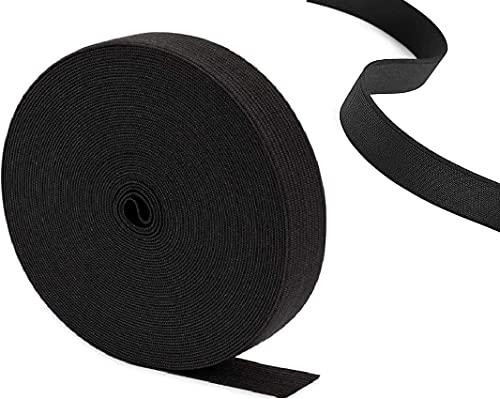 Elastic Black 1inchX5yards. Densco Flat Waistband Sewing Elastic Strap Ribbon Bands Fold Over Elastic Stretch uproll Elastic Cord High Elasticity DIY Crafts & Dressmaking Black|25mm| 5M (5.47Yards)