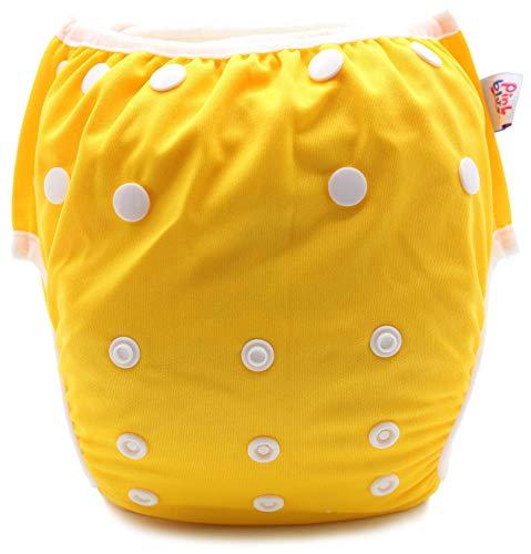PINK & BLUE Schwimmwindel Schwimmhose Baby und wiederverwendbar Badehose für Jungen und Mädchen (4,5-16 kg) umweltfreundlich schonend für das Fell (Gelb, Medium)