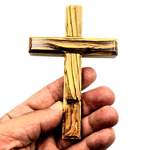 Zuluf Small Wall Hanging Wood Cross | Olive Wood Wall Cross Christian Gift from Bethlehem Holy Land | Religious Home Decor | Unique Wooden Simple Cross with Holy Land Certificate | 12cm / 4.7' CRS053