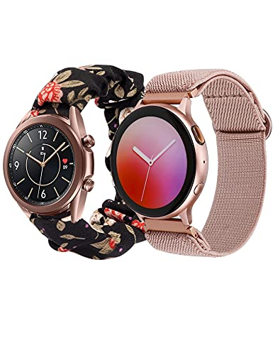 Glebo Compatible with Samsung Active 2 Watch Bands 40mm 44mm, 2 Packs 20mm Adjustable Stretchy Nylon Strap + Scrunchie Wristband for Galaxy Watch 3 41mm/ Watch 42mm/ Active 40mm, BlackRed/Pink Gray-L