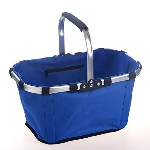 ZRJ Picnic Bolsa de Compras Plegable de la Cesta Picnic Bolsa de Almuerzo Portátil de Marco de Aluminio Fuerte para El Camping de Compras de Viaje Exterior (Color : Blue)