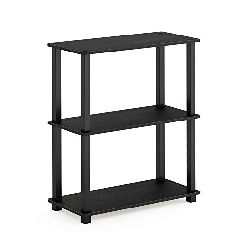 Furinno Turn-S-Tube Shelf Display Rack, 3-Tier Square, Americano/Black