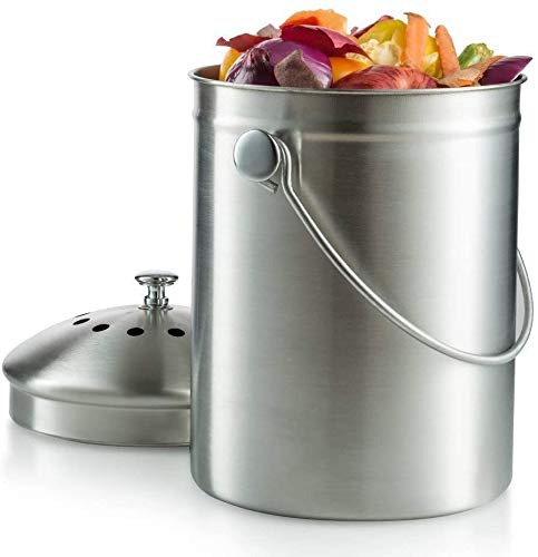 Review ARABYAN BROTHERS 1.3 Gallon Garden Kitchen Compost bin,Compost Bin, Stainless Steel, Kitchen ...