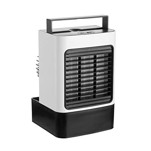 Katyma 4-en-1 Aire Acondicionado móvil Ventilador de pulverización USB Enfriador de Aire acondicionador de Aire Personal humidificador de Escritorio con luz para Dormitorio Sala de Estar Oficina
