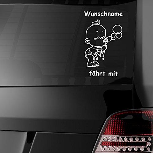 malango® Baby fährt mit Autoaufkleber Auto Aufkleber Styling Tuning Design Szene ca. 25 x 16 cm weiß