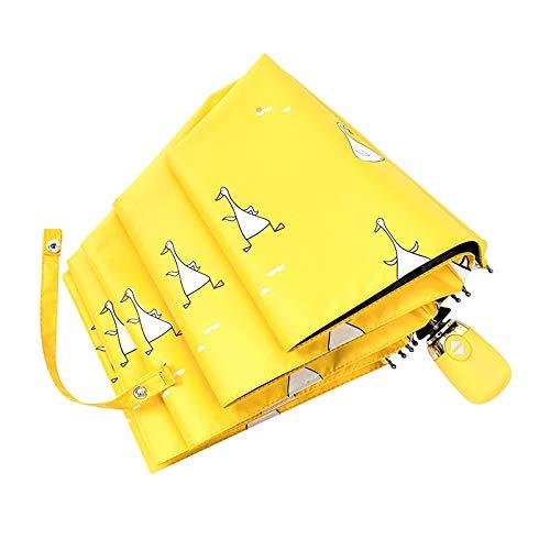 CUHAWUDBA Karikatur Enten Entwurf Automatischer Regenschirm Gelb Regenschirm Weiblicher M?Dchen Sonnenschein und Regen Zeit Taschenschirm