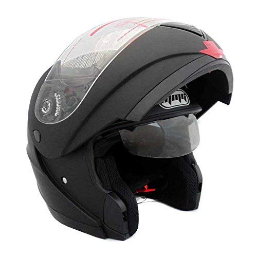 Motorcycle Modular Full Face Helmet Flip-Up Dual Visor DOT Street Legal - Flat Matte Black (Large)