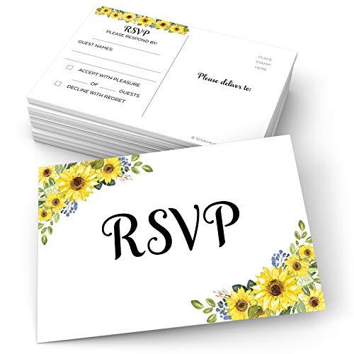 321Done Sunflower RSVP Postkarten (50 Stück) weiß groß 4x6 USPS Postkarten Antwortkarten für Hochzeit, Braut oder Babyparty, Gastzählung - Made in USA - Vintage Rustikal Floral