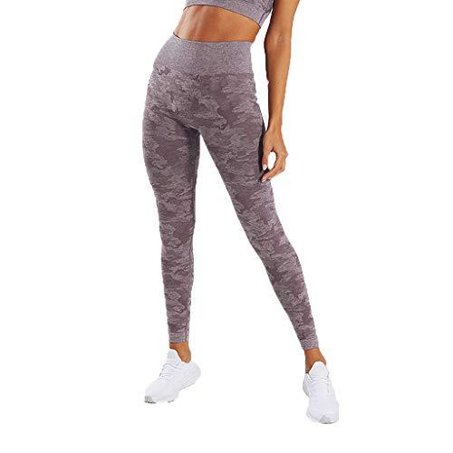 WOZOW Damen Leggings Gamaschen Farbverlauf Camo Print Druck Dünn Skinny Stretch Trousers Sweathose Lang Long Workout Jogginghose Yoga Sport Hose Stoffhose (L,Lila)