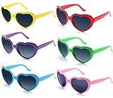 FSMILING 6 Stück Neon Farben Party Brille Großhandel Herz Sonnenbrille für Damen Kinder