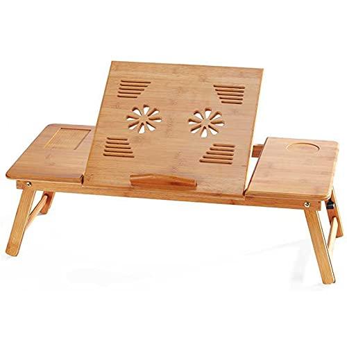 JHFR Mesa de Escritorio para Computadora Portátil Ajustable 100% Bambú Plegable Desayuno Bandeja de Cama con Cajón Superior Inclinable Enfriamiento con Ventilador