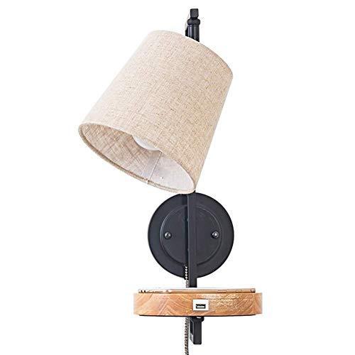 DINGYGJ Apliques De Pared Madera con Interruptor Lámpara De Cama con Puerto USB Pantalla De Tela Lámpara De Pared Interior Lámpara De Cabecera Moderna Diseño Decorativo Escalera Ático Balcón