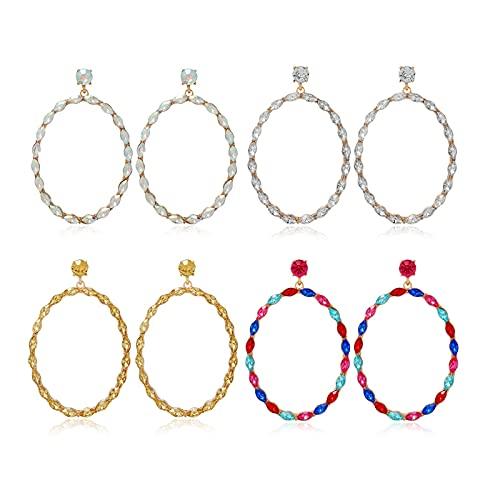 HMMJ Pendientes Colgantes ovalados de Diamantes de aleación geométrica con Personalidad exagerada para Mujer, Paquete de 4