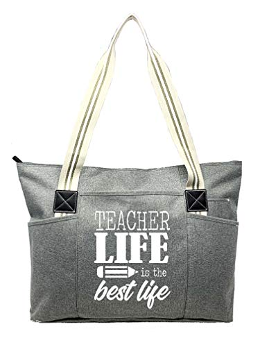 Large Teacher Zippered Tote Bags with Pockets for Teachers - Perfect for Work, Gifts for Educators, Teaching Assistants (Teacher Life Gray)