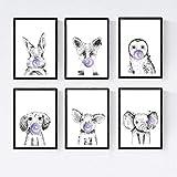 Set 6 posters animales bebes con chicle. Cerdo Elefante Conejo Zorro Buho Perro.Tamaño A4