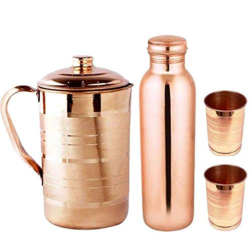 KC Copper Water Bottle, Jug And Glass Combo, 1000 ml Water Bottle, 1500 ml Jug, Set of Water Bottle, Jug And 2 Glass, Brown