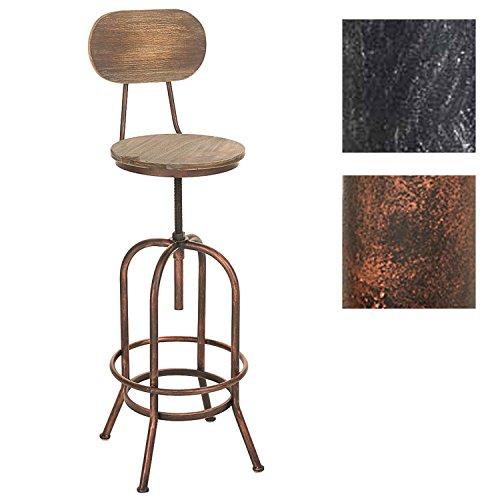 CLP Barhocker Pino I Höhenverstellbarer Thekenhocker Mit Holzsitz Und Metallgestell I In Vielen Farben, Farbe:Bronze
