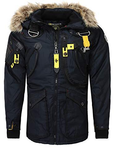 Geographical Norway Herren Stylische Winterjacke Wintermantel Langjacke AGAROS Fleece Fellkragen Warm Navy M