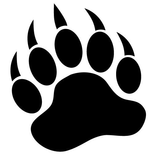 GRIZZLY BEAR PAW PRINT 3.5' BLACK Vinyl Decal Window Sticker for Laptop, Ipad, Window, Wall, Car, Truck, Motorcycle