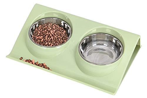 Ciotola per Cani Gatti in Acciaio Inox, Speyang Pet Ciotole Doppia, Gatti Ciotola Portatile, con Supporto (verde)