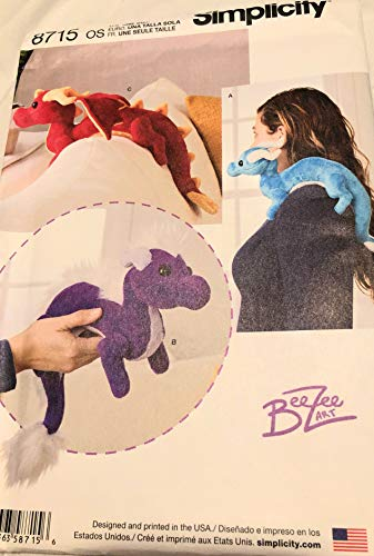 Simplicity 8715 Children's Stuffed Animal Dragon Toy Sewing Patterns by Beezee Art, One Size Only