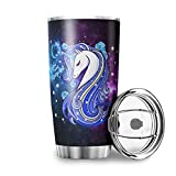 Moomo My Daughter Always Remember You are Brave Unicorn 20 oz Double Wall Vacuum Insulated Travel Coffee Mugs with Splash Proof Sliding Lid Stainless Steel Travel Mug Reusable White 20oz