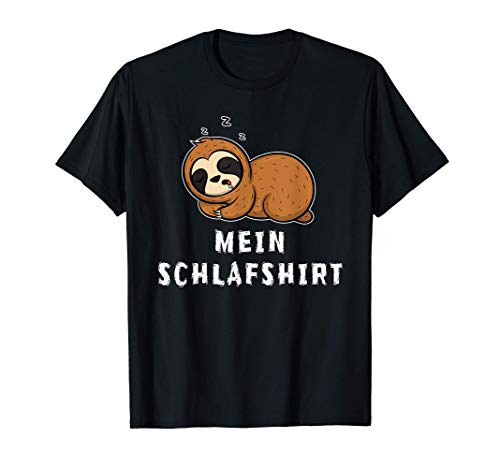 Lustiges Schlaf Outfit Faultier Nachthemd Pyjama Schlafanzug T-Shirt