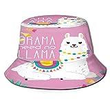 RUEMAT Sombrero Pescador Unisex,Lindo diseño de vivero de ilustración de Llama Alpaca,Plegable Sombrero de Pesca Aire Libre Sombrero Bucket Hat para Excursionismo Cámping De Viaje Pescar