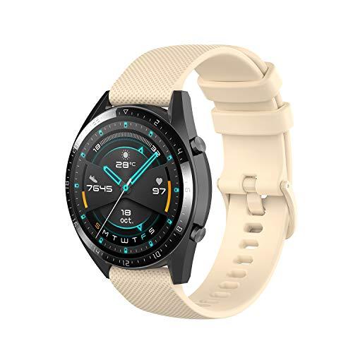 Wownadu 22MM Correa Compatible con Fossil Gen 5, Galaxy Watch 3 45MM Correa, Pulsera Deportiva Silicona Beige Repuesto Compatible con Garmin Vivoactive 4 (Sin Reloj)
