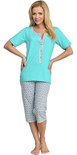 Be Mammy Premamá Pijama Dos Piezas Lactancia Ropa de Cama Maternidad Mujer H2L2N2 (Turquesa, S)